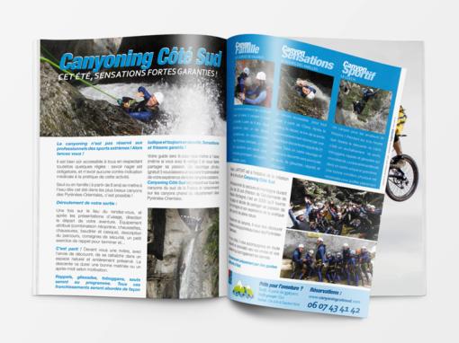 Création d'un publiredactionnel pour Canyoning Côté Sud dans Sport Sud Santé